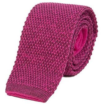40 Colori Double Threaded Wool and Cotton Knitted Tie - Fuchsia/Wine