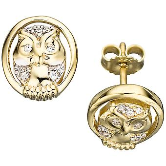 Studs OWL 333 gold yellow gold bicolor gold earrings with cubic zirconia