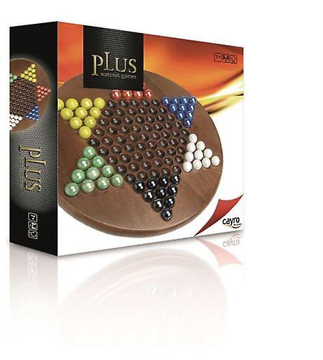 Cayro Plus Wooden Chines Checkers Glass Marbles.