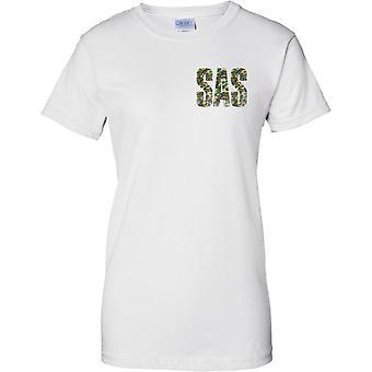 Camo SAS palabras - apenado - mundos mejores las fuerzas especiales - diseño de pecho de las señoras camiseta