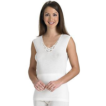 Slenderella Natural Luxury Wool and Silk Cream Sleeveless Cami Top UW951