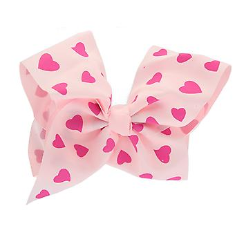 Girls Boutique Large Pink Heart Printed Fashion Hair Bow Dance School Accessory