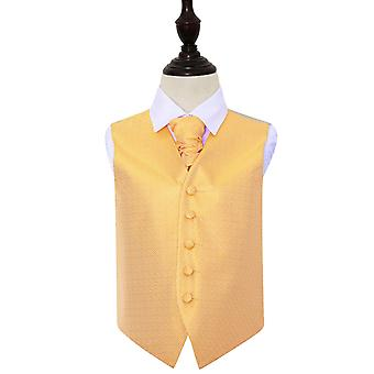 Boy's Marigold Greek Key Wedding Waistcoat & Cravat Set