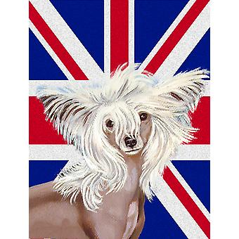 Chinese Crested with English Union Jack British Flag Flag Canvas House Size