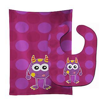 Carolines schatten BB8850STBU Monster paarse Baby Slabbetje & Burp doek