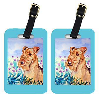 Carolines Treasures  7007BT Pair of 2 Airedale Terrier in Flowers Luggage Tags
