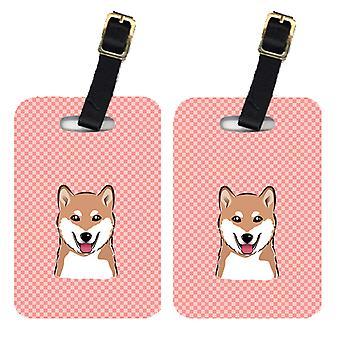 Carolines Treasures  BB1225BT Pair of Checkerboard Pink Shiba Inu Luggage Tags