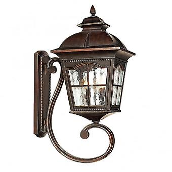 Searchlight 1571BR Pompeii One Light Wall Lantern Light With Lower Curved Arm In Bronze