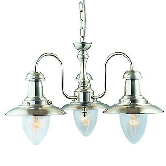 Fisherman Satin Silver Three Light Ceiling Light With Seeded Glass - Searchlight 5333-3ss