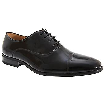 Goor Mens Pleated Cap Oxford Tie Patent Shoes