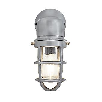 Vintage Industrial Cage Bulkhead Wall Light Sconce with Glass - Light Pewter