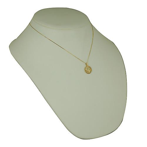 9ct Gold 15mm round Confirmation Pendant with a curb Chain 18 inches