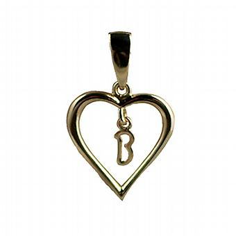 9ct Gold 18x18mm heart Pendant with a hanging Initial B