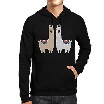 Llama Pattern Mens/Unisex Black Pullover Fleece Hoodie Gift For Holiday Gifts