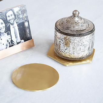 Solid Brushed Brass Gold Round Coasters