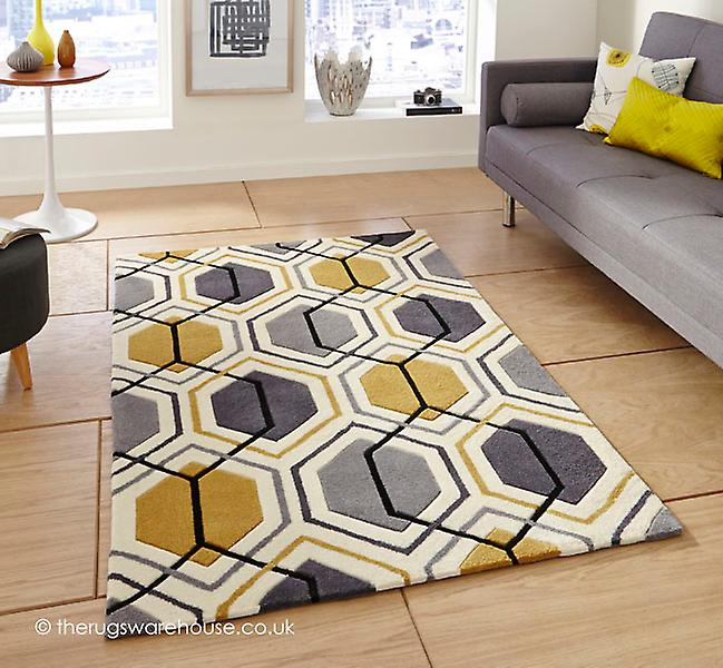 aimo gris jaune tapis fruugo. Black Bedroom Furniture Sets. Home Design Ideas