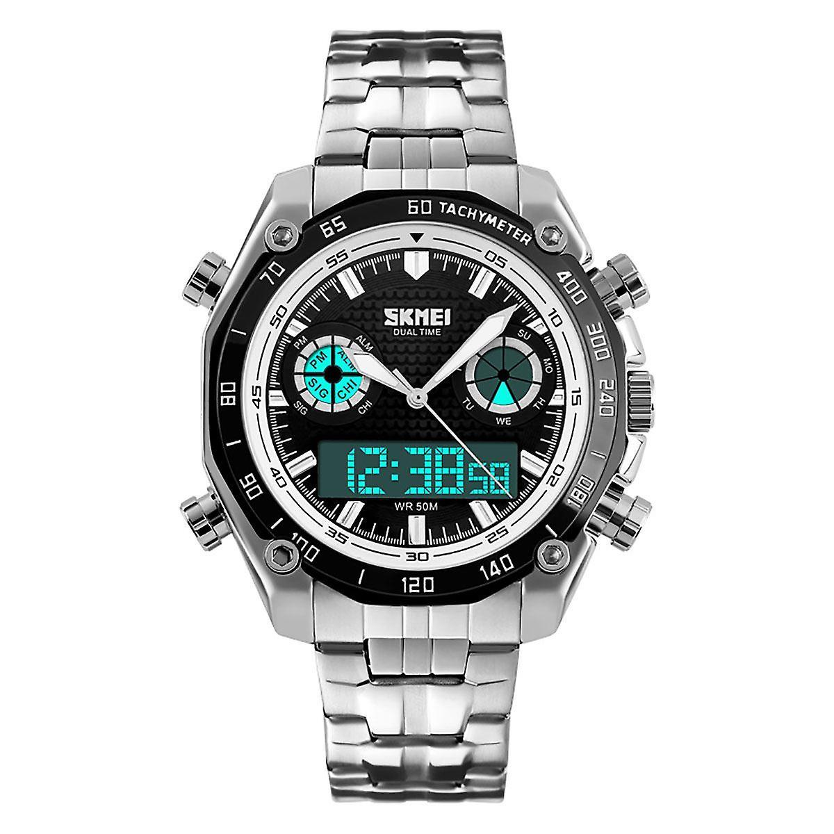 ステンレス鋼ストラップ AD1204 と SKMEI メンズ デュアル タイム デジタル アナログ時計