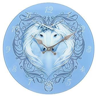 Anne Stokes Unicorn Heart Glass Clock