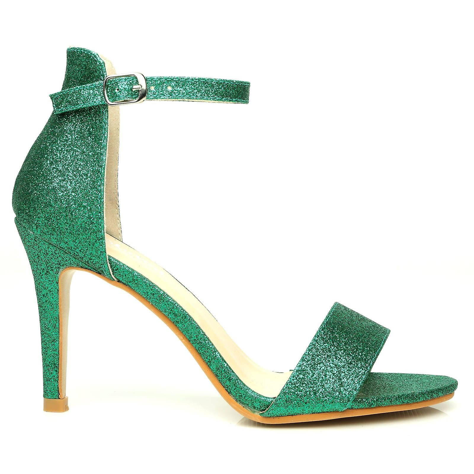 PAM Green Glitter Ankle Strap Barely There High Heel Sandals