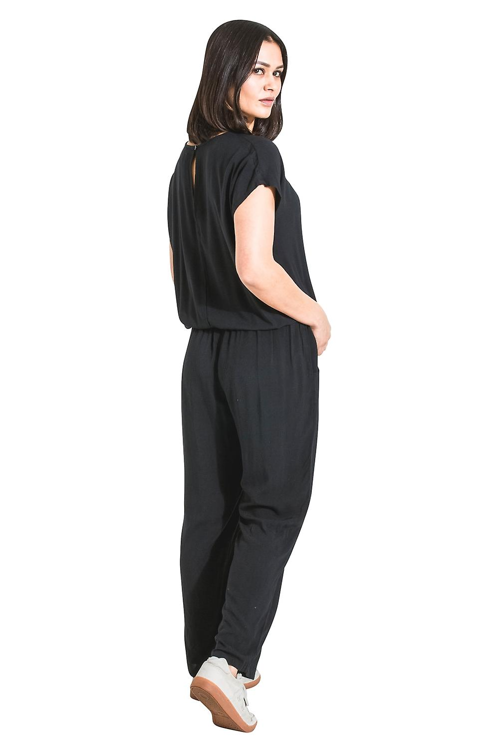 b39c87fd7b82 Ladies Jumpsuit with short sleeve - Black Loose Fit All-in-one Playsuit