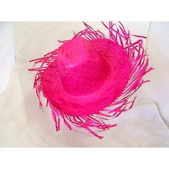 Karibik Strohhut In knalligem Pink (1)