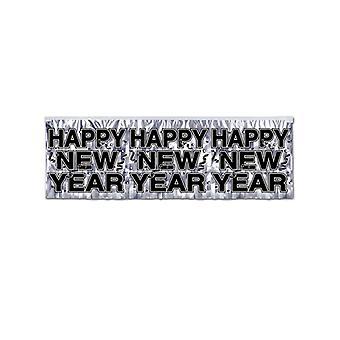 Bannière de Fringe métalliques Happy New Year - Silver