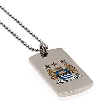 Manchester City Colour Crest Dog Tag & Chain EC