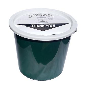 4 Charity Money Collection Buckets 5.7 Litres - Bottle Green