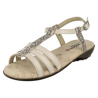 Ladies Padders T-Bar Sandals Pearl