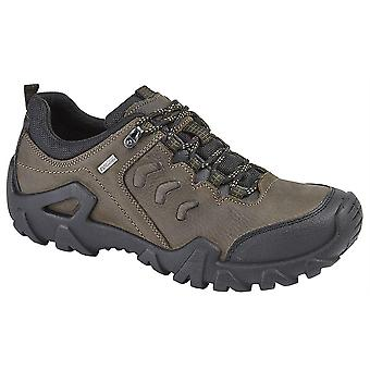 Mens Leather Waterproof Lightweight Lace Up Walking Hiking Trail Shoes