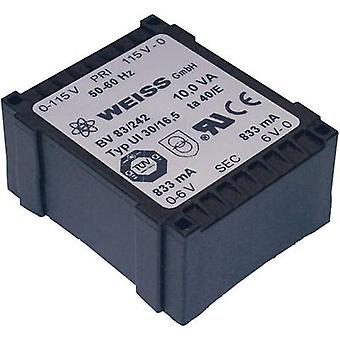 PCB mount transformer 1 x 230 V 2 x 9 V AC 10 VA 556 mA 83/244 Weiss Elektrotechnik