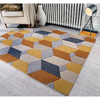 Portée infinie Rectangle ocre tapis tapis Funky