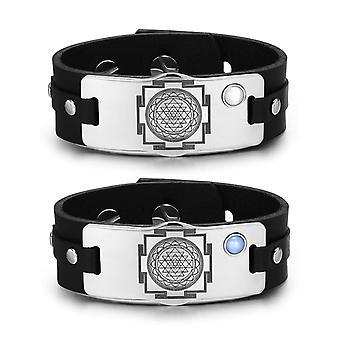 Sri Yantra Chakra Magic Energy Amulets Love Couples Blue White Simulated Cats Eye Leather Bracelets
