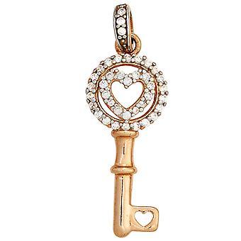 مفتاح-925 فضة مطلية الروديوم جزءا من الذهب الأحمر مطلي قلادة مع زركونيا مكعب