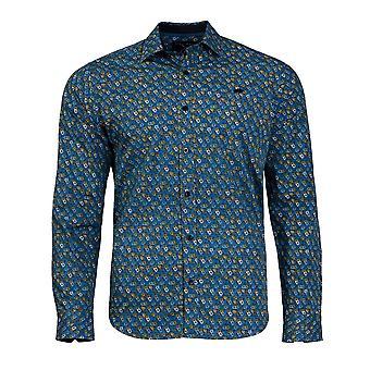 Multi blommig Print Shirt - mitten av blå