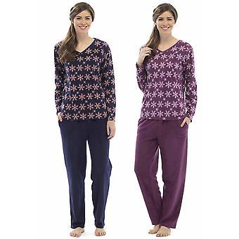 2 Pack Ladies Tom Franks Snowflake Print Winter Long Fleece Pyjamas Sleepwear