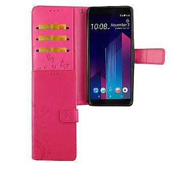 HTC U12+ Plus Handy-Hülle Schutz-Tasche Cover Flip-Case Kartenfach Pink