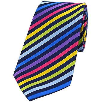Posh and Dandy Rainbow Thin Striped Silk Tie - Navy/Multi-colour