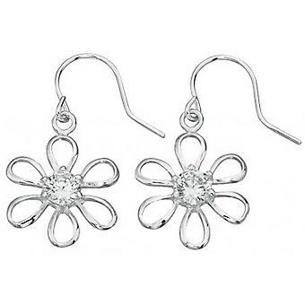 Beginnings Cubic Zirconia Centre Flower Drop Earrings - Silver/Clear