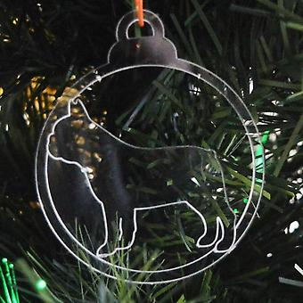Dog Bauble Clear Acrylic Christmas Decorations 6pk -  French Bulldog Side