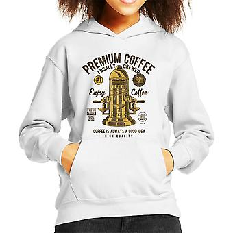 Enjoy Premium Coffee Espresso Machine Kid's Hooded Sweatshirt