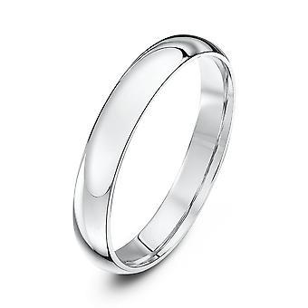 Star anneaux de mariage 9ct or blanc lumière Cour forme 3mm bague de mariage