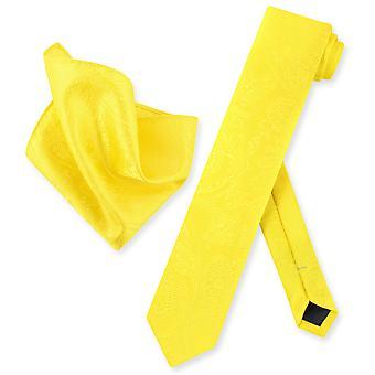 Vesuvio Napoli tynne slips Paisley Mens hals Tie & lommetørkle