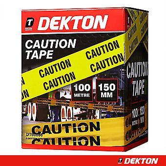 Dekton 150 mm x 100 m Barricade Let op Tape waarschuwing Tape voor wetshandhaving