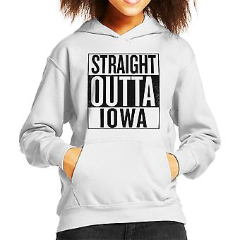 Zwarte tekst Straight Outta Iowa ons stelt Kid's Hooded Sweatshirt