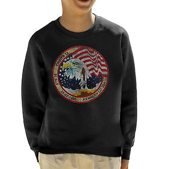 NASA STS 36 Atlantis Mission Badge Distressed Kid's Sweatshirt