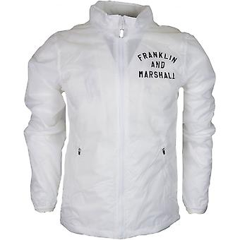 Franklin & Marshall Mf102 Funnel Neck Zip Perforated Nylon White Jacket