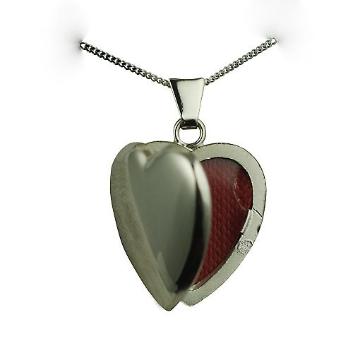 9ct White Gold 21x19mm plain heart Locket with a curb chain
