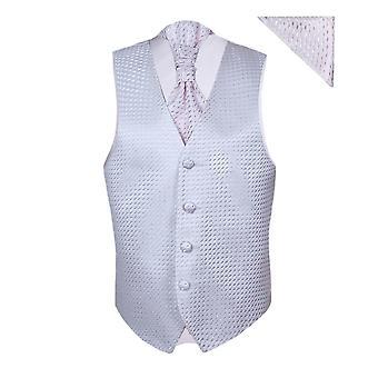 Gutter rosa bryllup vest Cravat Hanky sett