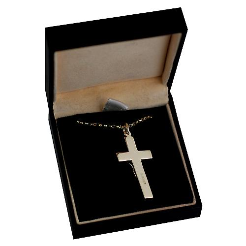 9ct Gold 34x19mm flat latin Crucifix Cross with belcher Chain 16 inches Only Suitable for Children